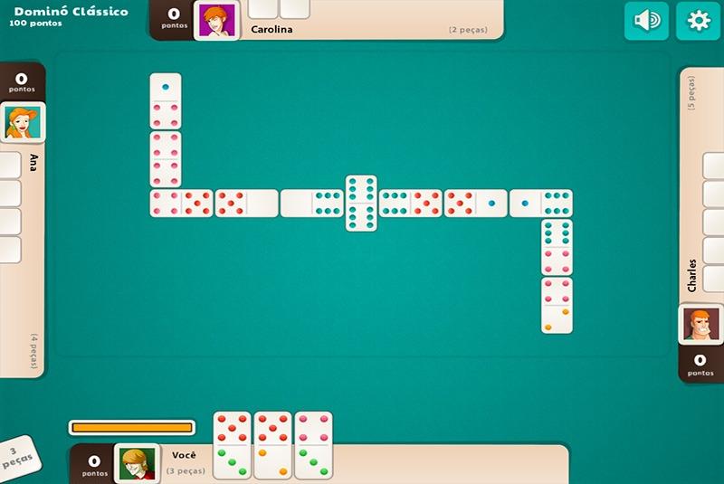 4 jogadores jogando Dominó Online