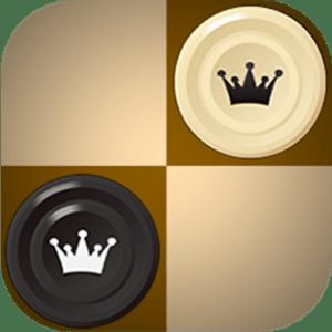 Quatro quadrados de um tabuleiro de dama, dois deles são ocupados por duas peças de damas, uma branca e uma preta. Em cima das peças existe um símbolo de coroa
