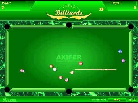 Um player realizando uma tacada em Billiards